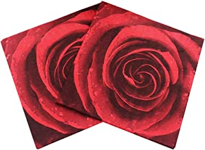 Red Rose Printing Cocktail Napkins 100 Sheets Decorative Beverage Napkins for Wedding Anniversary Party