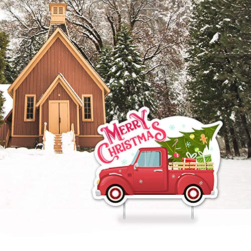 Greatingreat Christmas Yard Signs Outdoor Decorations Christmas Winter Yard Decorations - Xmas Outdoor Lawn Yard Signs with Stakes for Christmas Holiday Party Decorations Special Shape