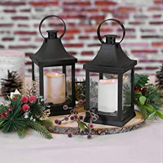 Kate Aspen LED Vintage Decorative (Set of 2) -Rustic Home Décor Lantern, One Size, Shanghai Black