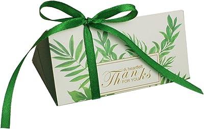 MASSJOY 50 PCS European Style Triangle Wedding Candy Box.