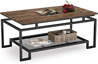 Tribesigns Rustic Industrial Coffee Table, 48 inch Rectangular Cocktail Table with Storage Shelf, Wood Look Accent Furniture with Metal Frame for Living Room (Vintage Brown)