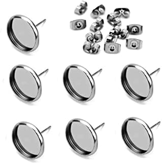 40pcs 10mm Stainless Steel Blank Stud Earring Bezel Setting for Jewelry Making with 40pcs Surgical Steel Earring Backs DIY Findings (9850)