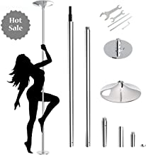 amzdeal Stripper Pole Upgraded Fitness Pole Spinning Dancing Pole Portable Removable 45mm Pole Kit for Exercise Loss Weight Home Gym