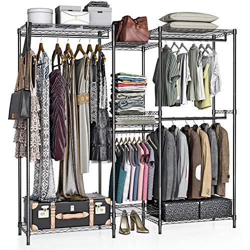 VIPEK Upgrade 5 Tiers Wire Garment Rack Heavy Duty Clothes Rack Clothes Wardrobe Large Armoire Storage Rack Organizer 744 L x 177 L x 768 H Rod Diameter 1 Max Load 750 LBS V6S Black