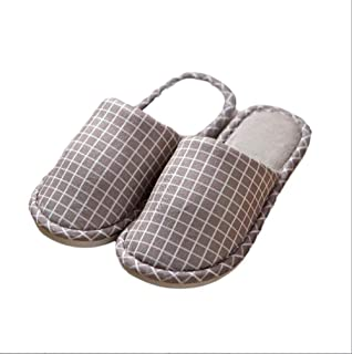 Women Spring and Autumn Winter Indoor Home Household Slippers to Keep Warm Couple Non-Slip Thick Bottom Slippers Men Warmer Soft Plush Home Shoes (Color : Khaki, Size : 40-41 Yards)