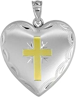 1 inch Sterling Silver Heart Locket Necklace for Women 4 Picture Gold Cross 16-20 inch
