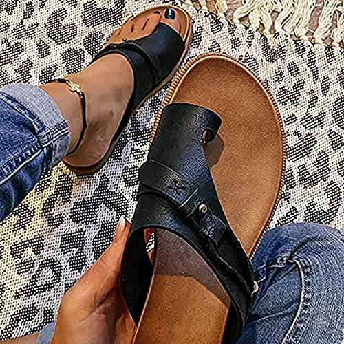 DMWMD Elegante Mujer ortótica Sandalia juanete corrección Sandalias de Cuero Zapatillas de Punta Abierta tacón Plano Flip Flops Verano Casual Zapatos de Playa (Color : C, Size : 38)