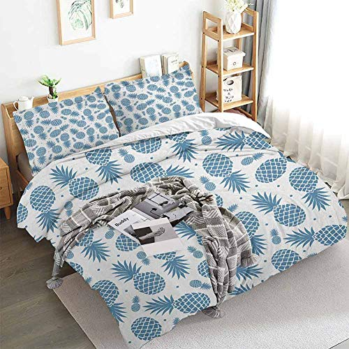 Aishare Store Pineapple Duvet Cover Set,Island Themed Minimalistic Multi-Sized Tropic Fruity Pineapple Printed Vintage,Decorative 3 Piece Bedding Set with 2 Pillow Shams,King(104'x90') Blue White