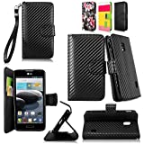Cellularvilla Wallet Case for LG Optimus F6 D500 MS500 Pu Leather Wallet Card Flip Open Pocket Case Cover Pouch (Carbon Fiber Black)