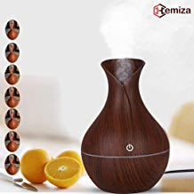 Zamkar Trades Wooden Aroma Diffuser Air Freshener Humidifier with LED Night Light for Car Home and Office (Multi Color)
