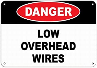 Fieanxi Danger Low Overhead Wires Hazard Sign Hazard Labels Notice Sign Safety 8