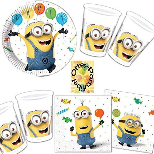 HHO Minions Balloons Party Partyset 52tlg. Teller Becher Servietten für 16 Kinder