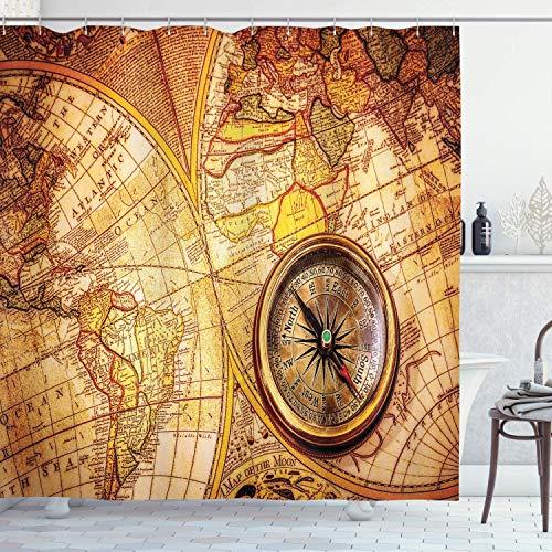 BeeTheOnly 72x72inch Duschvorhang, Kompass auf Einer Weltkarte Historische Grenzen Jahrh&ert altes Thema der Antike, Badezimmerdekor mit Haken, Braunbeige