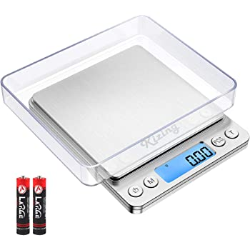 Kizing Digital Kitchen Scale, 500g/0.01g Small Pocket Jewelry Scale, Cooking Food Scale with Backlit LCD Display, Food Scales Digital Weight Gram and Oz, Stainless Steel, Battery Included, Silver