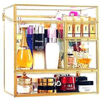 Stackable Glass Makeup Organizer Antique Countertop Vanity Cosmetic Storage Box Mirror Glass Beauty Display Large Capacity Holder for Brushes Lipsticks Skincare Toner with free Pearl  Gold