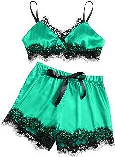 436c813dbb Women s Lace Silk Trim Underwear Lingerie Spaghetti Strap Pajamas Two Piece  Sleepwear Nightwear Satin Cami Set