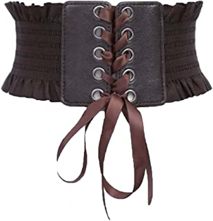 Womens Wide Elastic Lace-up Waist Belt Adjustable Leather Cinch Corset Waistband