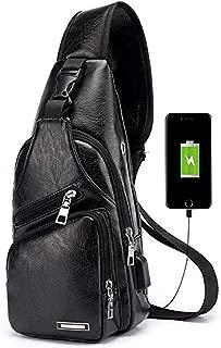 Men's Leather Sling Bag Multipurpose Daypack Shoulder Chest Crossbody Bag with USB Charging Port