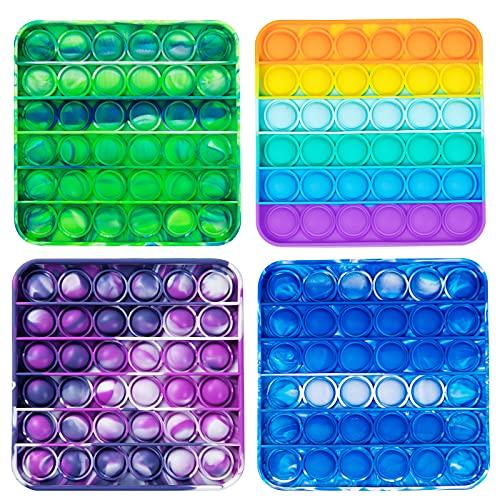 WQFXYZ Pop Push It Bubble Fidget Sensory Toy, a Special Multi Shaped High Grade Soft Silicone Extrusion Toy Suitable for All Ages (Multicolor 4pcs) (4PC-Colors) (4PC-Colors)