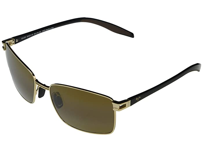 Maui Jim  Cove Park (Gold with Black Temples and Brown Rubber) Fashion Sunglasses