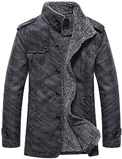 Cappotti da Uomo Trincea Cappotto di Invernale Giacche di Lana con Pelliccia Sintetica per Uomo Giacche di Lana Elegante T...