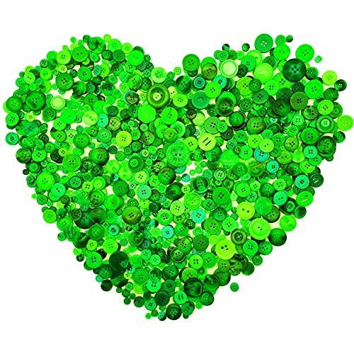 Esoca 650Pcs Green Buttons for Crafts Assorted Green Craft Buttons Bulk for Crafting DIY