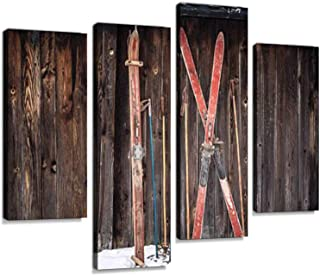 Old Retro Styled skis Sticking in Snow on Wooden Wall Canvas Wall Art Hanging Paintings Modern Artwork Abstract Picture Prints Home Decoration Gift Unique Designed Framed 4 Panel