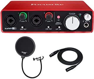 Focusrite Scarlett 2i2 USB Audio Interface (2nd Gen) with XLR Cable and Knox Pop Filter