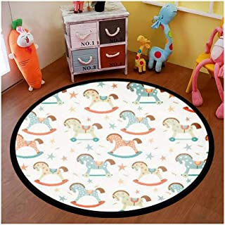 Kids Round Area Rugs Baby Crawling Mats Game Blanket Baby Play Mat Rugs Seamless Kids, Baby Rocking Horse Seamless First Toys eps 10 on Floor Carpet Indoor Outdoor for Playroom Nursery Bedroom