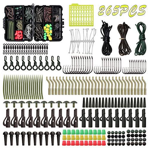 SHADDOCK 265-teiliges Karpfenangel-Box-Set inklusive Karpfenangeln, Wirbel, Snaps Tubs, Haken, Vorfach-Rigs Boilie-Stops, Ausrüstung, Karpfen-Fischerei-Ausrüstung, Angelbox
