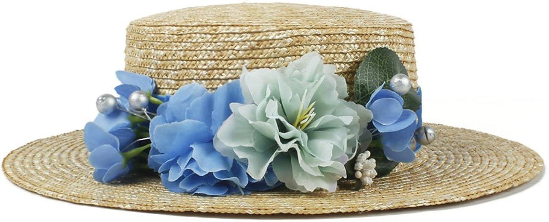 Summer Straw Women Sun hat Fashion Lady Summer Flat Prok Pie Sunbonnet Boater Beach Hat with Flower (color   blueee, Size   5658CM)