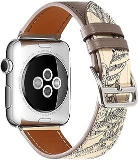 CHIMAERA コンパチブル Apple Watchバンド 本革 ベルトレザー アップルウォッチ交換ベルト男女兼用 対応 iWatch Series 5/4/3/2/1Nike+ (42mm/44mm, Grey & Flower)