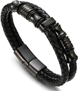 ● Sombra ● Hombres Pulsera de Cuero Genuino Pistola Negro Perlas de Titanio Acero Inoxidable Cierre Magnético 8.5