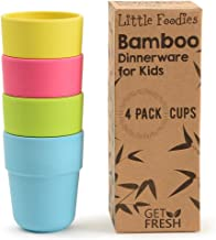 Bamboo Kids Cups, 4 Pack Set, Stackable Bamboo Drinking Cups, Bamboo Kids Dinnerware Set, Bamboo Toddler Cups, BPA-Free, Dishwasher Safe and Stackable