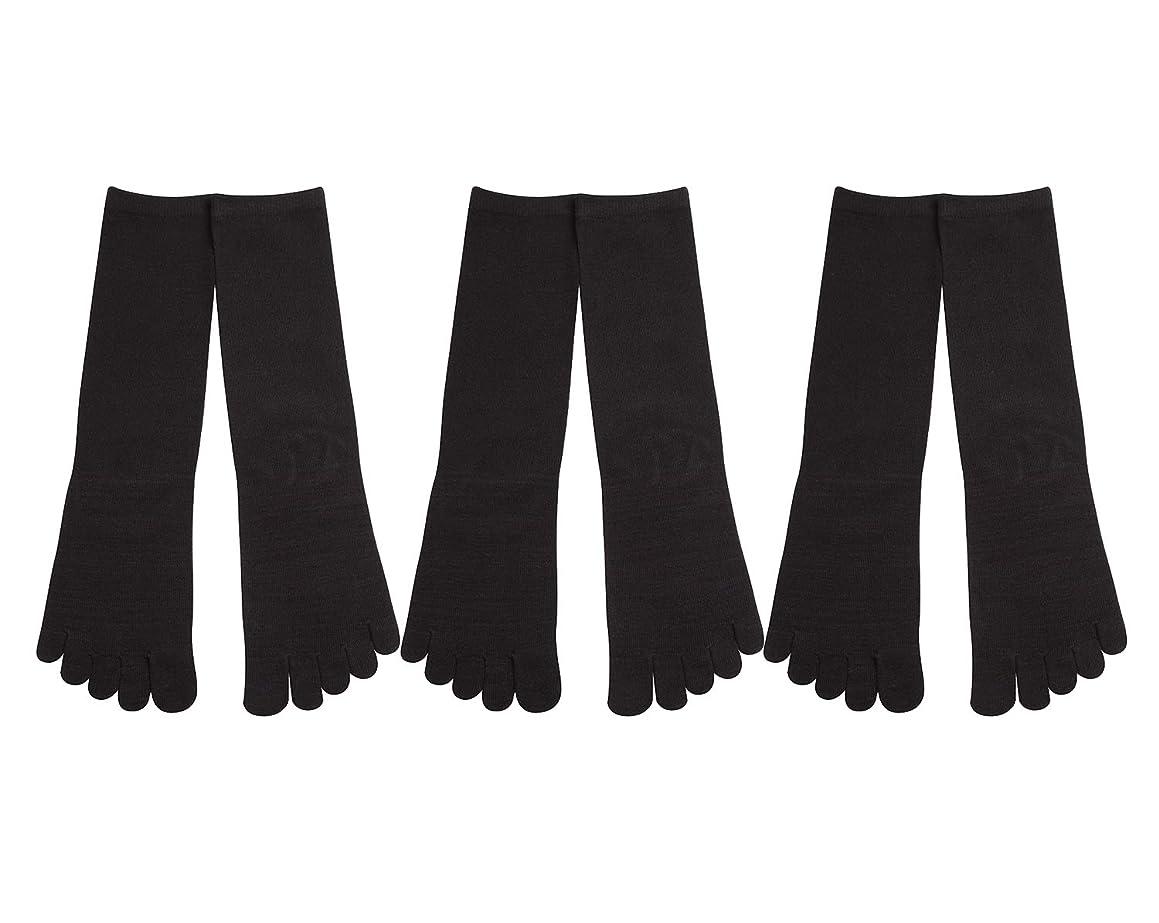 おもしろいカメうっかりDeol(デオル) 5本指 靴下 男性用 黒 3足セット 25cm-27cm メンズ [足のニオイ対策] 長時間消臭 日本製 靴下