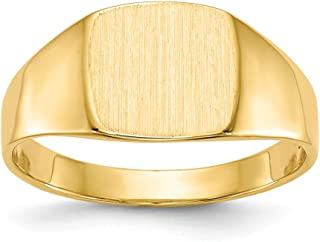 14k Yellow Gold 8.5x9.0mm Closed Back Signet Band Ring Size 7.00 Man Fine Jewelry For Dad Mens Gifts For Him