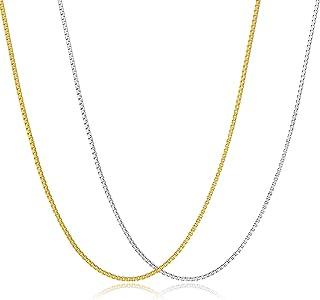 مي آند هرتز 2 قطعة 18 قيراط مطلية بالذهب والبلاتين 1.1 مم مجموعة قلادة سلسلة مربعة للنساء الرجال الفتيات سلسلة قلادة قلادة...