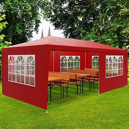 Deuba Gazebo da giardino 3x6 m Rimini Protezione UV 50+ Idrorepellente 6 pareti laterali 18 m² Tenda per Feste Padiglione da giardino Tendone da esterno rosso