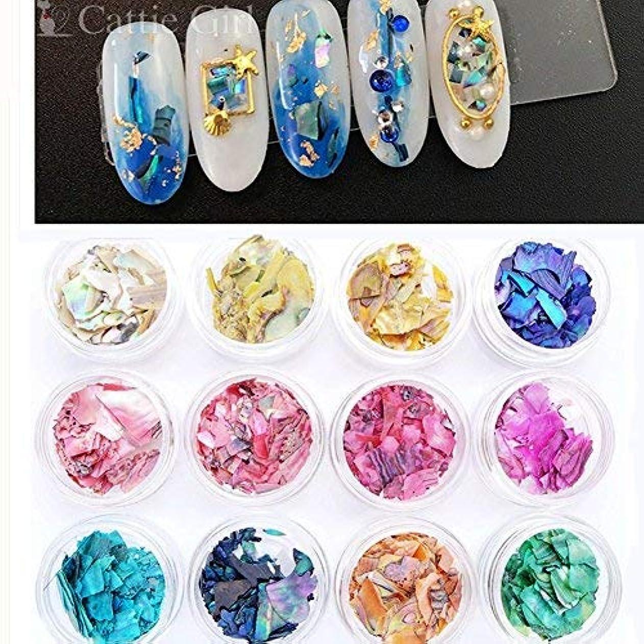 捨てるボルトCattie Girl 12ボックス  ナチュラル アワビ ネイルシェル 天然風 貝殻 夏ネイルアート  ネイル ラメ ホログラム  ホロ ネイルセット ネイルキット 12色