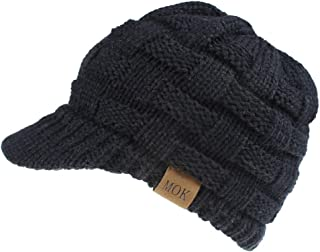 TOTOD Ponytail Cap with Drop Down Ear Warmer, Slouchy Knitted Beanie Hat for Women