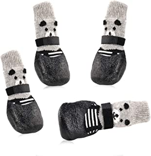 RilexAwhile Dog Socks Boots Shoes for Dogs Cat Socks Non-Slip Soles Adjustable Dog Cat Paw Socks Fit for Indoor Outdoor Us...