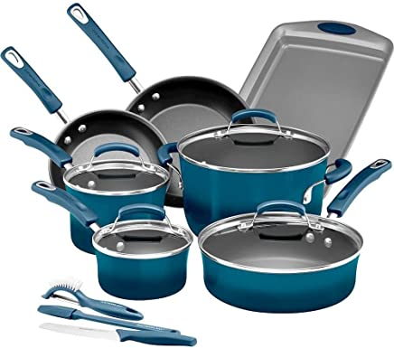 Rachael Ray Classic Brights Hard Enamel Nonstick Cookware 14-Piece Set, Marine Blue