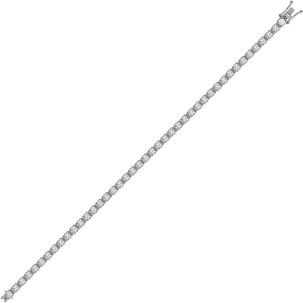 Jewelco london,bracciale da tennis,in oro bianco 18 kt,con 4 griffe,e linea di diamanti da 8 ct. 18B019-800