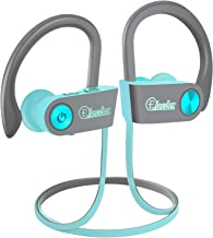 Elecder Bluetooth Headphones, Wireless Sports Earbuds Waterproof IPX7 with Microphone for Running Workout, Noise Cancelling Audifonos for Cellphone (Gray&Turquoise)