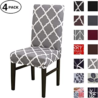 Dining Chair Cover Seat Protector Super Fit Slipcover Stretch Removable Washable Soft Spandex Fabric for Home Hotel Dining Room Ceremony Banquet Wedding Party Restaurant (Color 6, 4 Per Set)