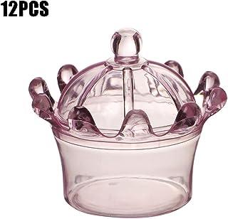 Cutogin, 12 piezas de plástico en forma de corona, caja de dulces para boda, cumpleaños, fiesta, caramelo, bar