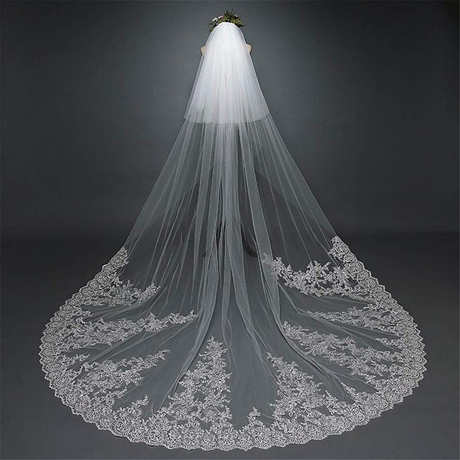 2T Two Tiers Bride Veils Vintage Style Flower Lace Applique Edge Long Cathedral Veils Bride Wedding Accessories with Comb