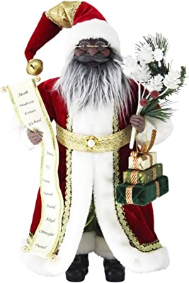 """Windy Hill Collection 16"""" Inch Standing Name List African American Black Ethnic Santa Claus Christmas Figurine Figure Decoration 41603A"""