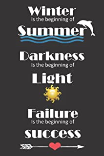 Winter is the beginning of summer darkness is the beginning of light failure is the beginning of success: undated lined jo...