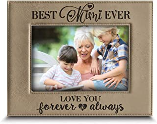 BELLA BUSTA-Best Mimi Ever- Love You Forever and Always- Mimi and Granddaughter & Grandson Engraved Leather Picture Frame (5 x 7 Horizontal)